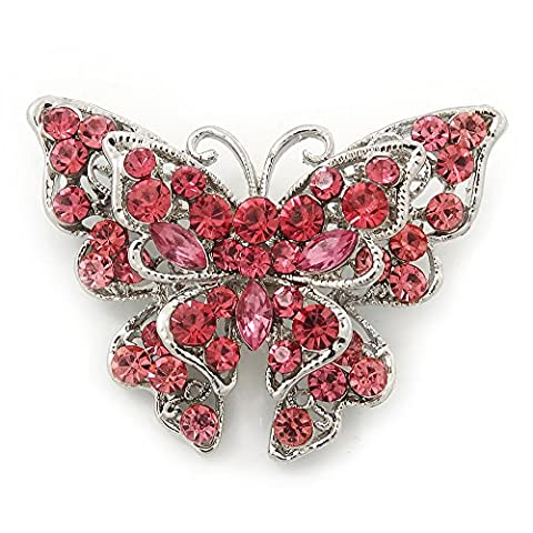 Pink Crystal Filigree Butterfly Brooch (Silver Tone)