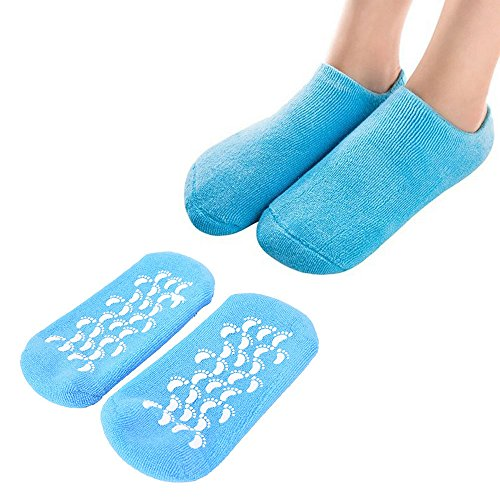 JUSTIME Anti-slip Moisturizing Gel Socks,Unisex Foot SPA Treatment Socks with Vitamin E for Moisturize Soften Repair Cracked Skin- Free Size(blue)