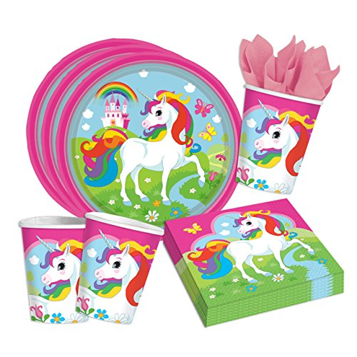 arty Set Einhorn - Teller Becher Servietten Partygeschirr (Unicorn Party Supplies)