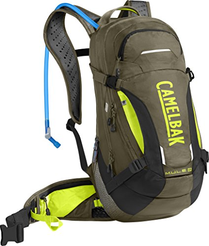 CamelBak M.U.L.E. LR Hiking-Hydration-Packs, Burnt Olive/Lime Punch, 100 oz (Hebel Punch)