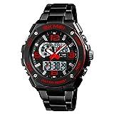 ABC Outdoor-Sportuhr - Männer multifunktionale Mode elektronische Uhr Wasserdichte Countdown Schwimmen Bergsteigen Uhr (Farbe : Red)