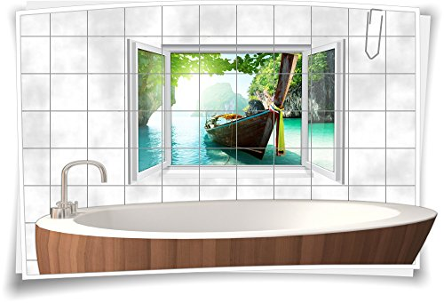 Fliesenaufkleber Fliesenbild Fliesen Meer Boot Insel Maladiven Aufkleber Bad Deko WC Badezimmer Dekoration, 150x100cm, 15x15cm (BxH)
