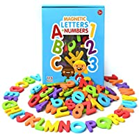 Curious Columbus Magnetic Letters and Numbers. Set of 115 Premium Quality ABC, 123 Colourful Foam Alphabet Magnets. Top Rated Best Educational Toy for Preschool Learning, Spelling, Counting