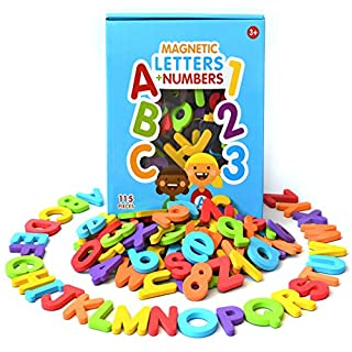 Curious Columbus Magnetic Letters and Numbers. Set of 115 Quality ABC, 123 Colourful Foam Alphabet Magnets Best Educational Toy for Preschool Learning, Spelling, Counting