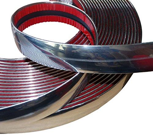 AERZETIX: Tira adhesiva para decoracion de coche níquel cromo color plata 30mm 4.5m - C12429
