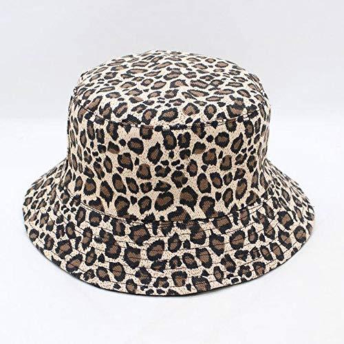 ZSAIMD Leopardenmuster Eimer Hut Fischer Hut Outdoor reisehut Sonnenhut hüte für männer und Frauen Frauen schöne Sommer Damen Sonnenhut leinwand doppelseitig (Color : Black)