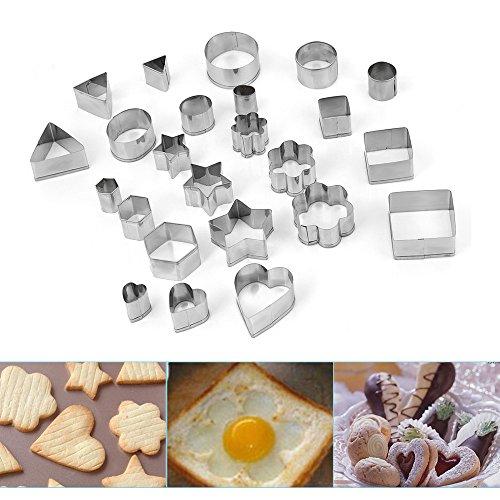 24 Stück Ausstechformen aus Edelstahl Ausstecher Set Plätzchenformen perfekt für Keks Backen Fondant PlätzchenTortendekorationen Kleine Muschel Ausstecher