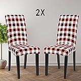 Housse de chaise Décor 2 pièces housse de chaise Stretch-Housse Couverture de chaise de matériau spandex avec bande élastique pour un ajustement universel, couvercle extensible Lycra, très facile à ne (Multicolore 2)
