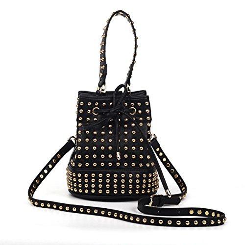 Tragbare Drawstring Beuteltasche Handtaschen Neue Nieten Mode Umhängetasche Messenger Bag Totes