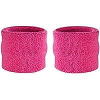Suddora - Muñequeras para niños, muñequeras de tejido rizado de algodón atléticas para deportes (par)., rosa neón