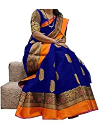 Gopinath Feb Women's Cotton and Silk Printed Saree with Blouse Piece (SRK_s1133, Red, Free Size)