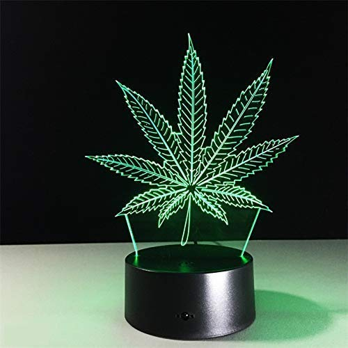 Smartlife 3D Nachtlicht Cannabis Marihuana Lampe LED Weed Pot Blatt Lampe mit USB-Kabel, 7 LED Farben ändern, Smart Touch, Button Control, Acryl Panel & ABS Base -