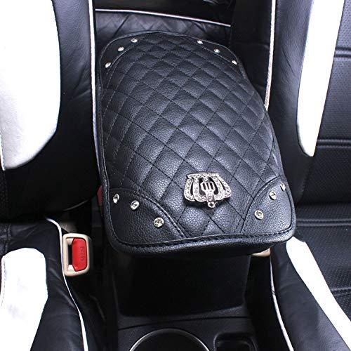 Luxus Auto Charme Schöne Kamelie Leder Mittelkonsole Armlehne Soft Cover Pad mit Strass Strass Strass (schwarz
