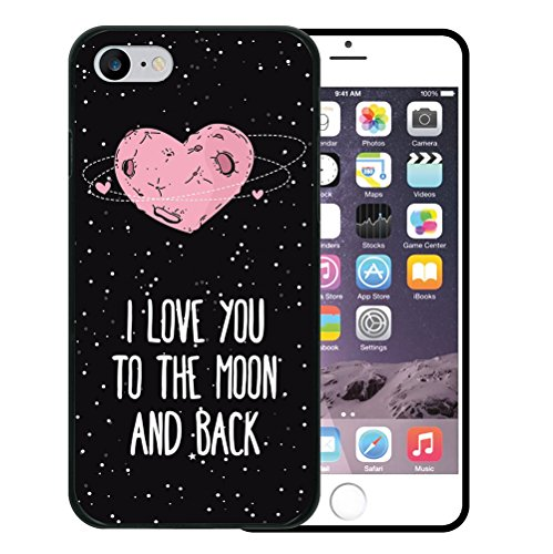 iPhone 7 Hülle, WoowCase Handyhülle Silikon für [ iPhone 7 ] Herz Liebe Satz - I Love You To The Moon And Back Handytasche Handy Cover Case Schutzhülle Flexible TPU - Schwarz Housse Gel iPhone 7 Schwarze D0265
