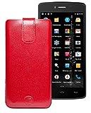 Favory Tasche Leder Etui / IceFox i3 / ECHT Ledertasche Hülle Schutzhülle (Lasche mit Rückzugfunktion) rot
