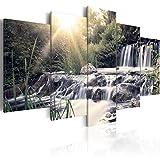 murando - Bilder 200x100 cm - Vlies Leinwandbild - 5 Teilig - Kunstdruck - Modern - Wandbilder XXL - Wanddekoration - Design - Wand Bild - Natur Landschaft Wasserfall Grün Bäume c-C-0026-b-p