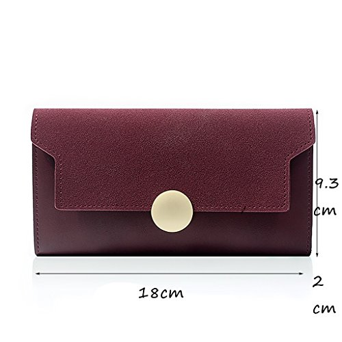 CLOTHES- Versione coreana della borsa della signora di sezione sottile opaca di raccoglitore a mano semplice della personalità lunga retrò ( Colore : Marrone ) Vino rosso
