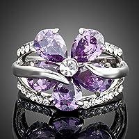 خاتم ستيلوكس النمساوي كريستال تصميم زهرة بنفسجي مقاس 8