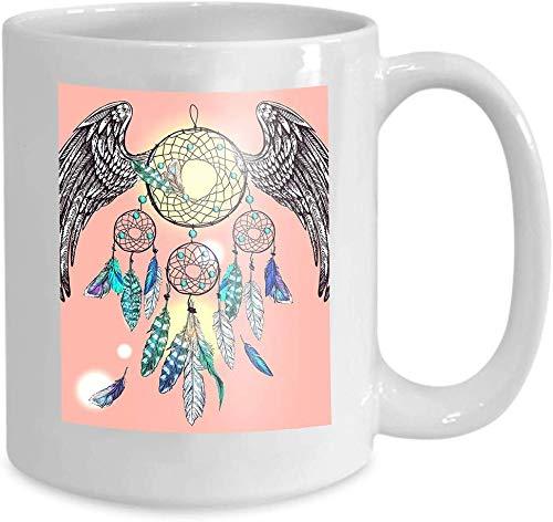 Rael Esthe Taza Divertida, Taza de cerámica de 11 oz, Regalo de Novedad para cumpleaños y Navidad alas atrapasueños Hermosa Acuarela Dibujada a Mano póster pájaro Estilo Boho Dibujo pequeño