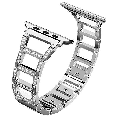 für Apple Watch Armband, ITSHINY Strap Band Uhrenarmband Schlaufe Smart Watch Armbänder mit Metallschließe für Iwatch Series 3/2 / 1 (38mm, Silver)
