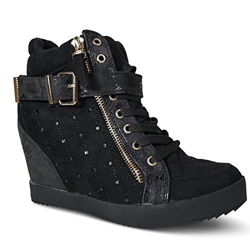 Damen Sneakers Keilabsatz Nieten Glitzer High Top Wedge ST622 Schwarz