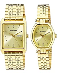 Sonata Analog Gold Dial Unisex Watch-NK70078083YM02