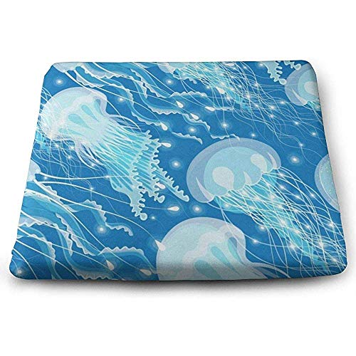 Dy-Home Square Seat Cushions Sea Jellyfish Premium Comfort Chair Pads for Travel -