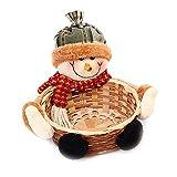 LeKing-Canasta de almacenamiento para el hogar de Papá Noel, canasta de bambú navideña, canasta de dulces de la fiesta navideña