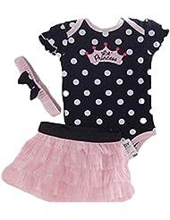Conjuntos de top y falda Koly - Mono Niñas, Body para bebés, top y falda y punto diadema (3 meses, Negro)