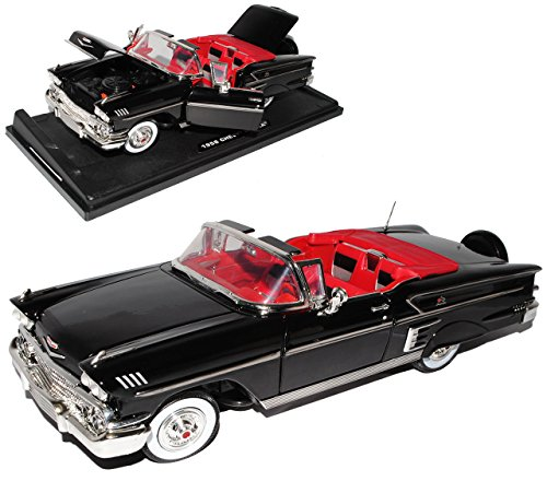 Chevrolet Chevy Impala SS Cabrio Schwarz 1. Generation 1958 1/18 Motormax Modell Auto mit individiuellem - Modell Auto Impala Chevy