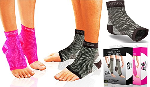 Physix Gear Plantar Fasciitis Socks with Arch Support for Men & Women – Best 24/7 Compression Foot Sleeve for Aching Feet & Heel Pain Relief – Washes Well, Holds Shape & Better Than a Night Splint