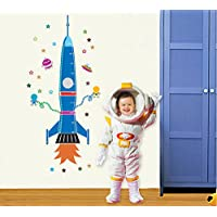 Cartoon Height Chart decals Rocket Spaceship removable wall sticker for kids room nursery room by UfingoDecor