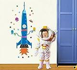 ufengke Fusée de Bande Dessinée Vaisseau Spatial Extraterrestre Toise Stickers Muraux Bricolage (80-170cm) (31-60in), la Chambre des Enfants Pépinière Autocollants Amovibles