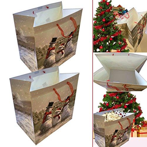 Luxuriöse Schneemann Muster Weihnachten Geschenk Tüte 2Pack–bietet Luxuriöse Look zu ihr X-Mas Geschenk (Socken Star-2pk)