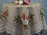 VonKnaub Tischdecke Mitteldecke Handarbeit Klöppelspitze Weihnachten Christmas Winterzeit Bestickt Landhausstil ca. 100 x 100 cm Beige/Bunt