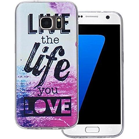 Ouneed® Case Cover Multi Color TPU Per Samsung Galaxy S7 (Lettera VITA )