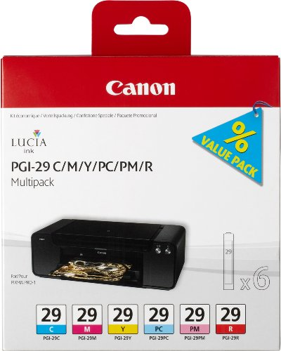 Canon Multi Pack (Canon PGI-29 6 original Tintenpatrone Multipack C/M/Y/PC/PM/R für Pixma Inkjet Drucker PRO1)