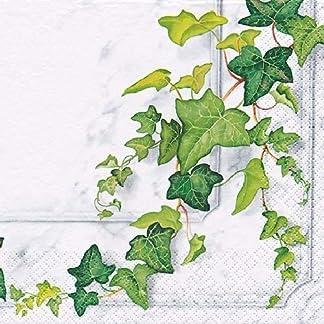 Napkins Flowers 60 servilletas de Papel de Hiedra Verde Floral, 33 x 33 cm, 3 Capas, servilletas de Almuerzo, servilletas de Calidad Moderna para Fiestas, cenas, Navidad, Eventos, Eventos Familiares
