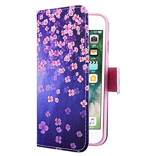 HB-Int 3 en 1 PU Cuir Housse Etui pour Apple iPhone 7 (4.7 pouces) Originale Motif Coque Protecteur Stand Fonction Couverture Flip Wallet Cover Case Card Slots Book Style Coque Magnétique Anti Choc +  Fleur Rose