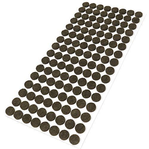 Adsamm® | 128 x almohadillas de fieltro | Ø 12 mm | marrón | redondo | Protectores de suelo para patas de mueble | auto-adhesivos | con grosor de 3,5 mm de la máxima calidad
