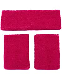 Meta-U Wholesale 5 Sets of Crimson Thicken Cotton Sports Sweatbands-1Set Including 1Pce of Headband & 2Pcs of Wristbands