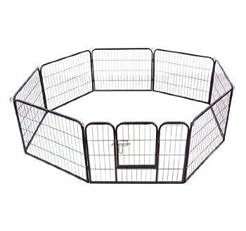 PawHut Parc Enclos pour Chiens Chiots Animaux de Companie 8 Pièces 80L x 60Hcm Tube d?Acier Noir