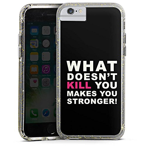 Apple iPhone X Bumper Hülle Bumper Case Glitzer Hülle Crossfit Motivation Staerke Bumper Case Glitzer gold
