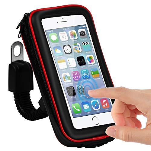 CLM-Tech Handy Fahrradhalterung wasserdichter Halter für bis zu 5,5 Zoll Smartphones, Motorrad Halterung, Fahrrad-Handyhalterung #2, schwarz rot, Kunstleder Lenkertasche