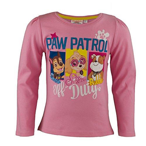 Paw Patrol Kinder Langarmshirt aus 100% Jersey Baumwolle, Langarm Shirt für Mädchen mit Chase, Marshall und Rocky - Shirt Farbe: Rosa, Größe: 98