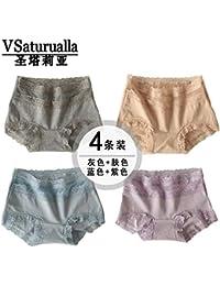 WXNLEAI Ropa interior de mujer algodón cintura alta gran tamaño vientre triángulo lado del encaje Japonés