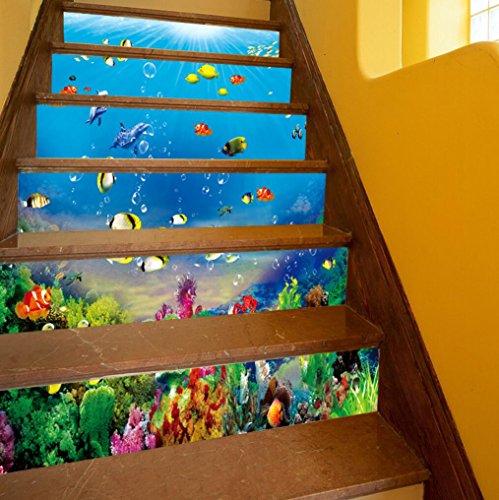 TINGTING Kreative Treppe Korridor Aufkleber 3D Unterwasserwelt Fisch Dekoration Wandaufkleber Bungalow Wasserdichte Aufkleber