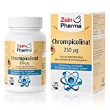 Cápsulas de Picolinato de Cromo 250µg de ZeinPharma • 120 cápsulas (4 meses de suministro) • para un nivel normal de azúcar en la sangre • Hecho en Alemania