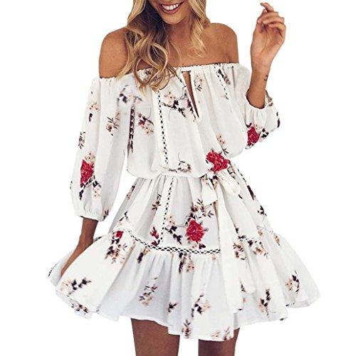 OHQ Robe ImpriméE pour Femme Blanc Womens Summer Off éPaule Floral Print Sundress Parti Plage Courte Jupes Femmes Mi Longues Courtes Soldes (Blanc, M)