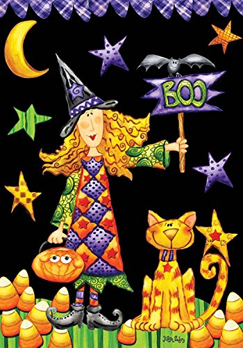 CHKWYN Boo Witch Halloween House Flag Boo Bat Primitive for Party Outdoor Home Decor Size: 12.5-inches W X 18-inches H (Bat House Kit)